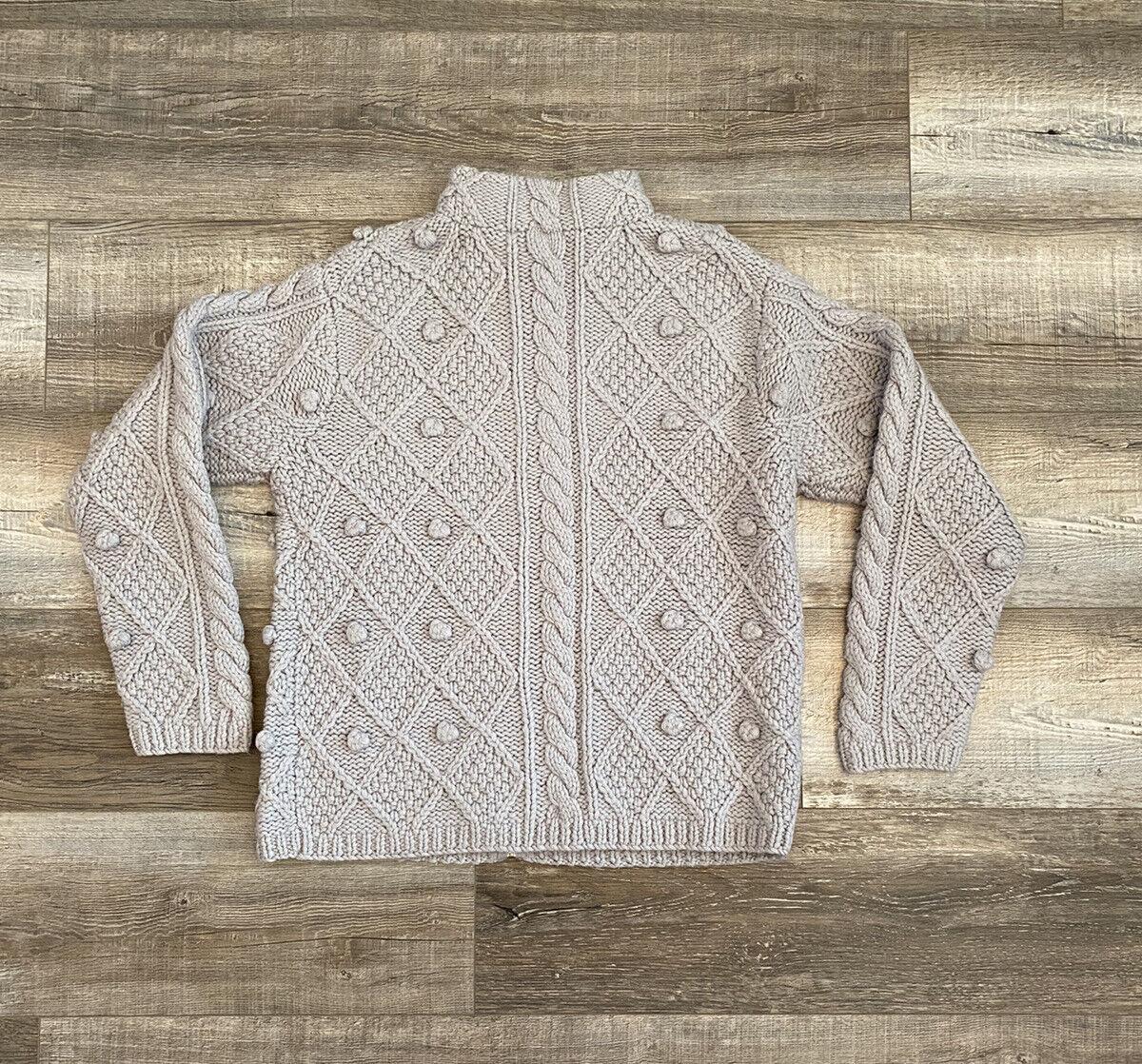 Hand Knit Gray Wool Crochet Chunky Knit Pom Pom F… - image 5