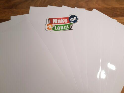 10 A4 White VINYL INKJET Printable GLOSSY Self Adhesive Sticker Sheets