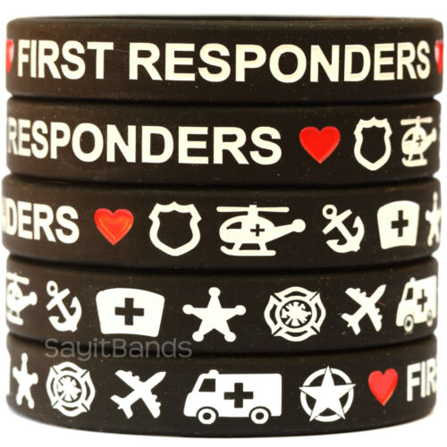 EMS Military Bands Fire 10 First Responders Wristband Bracelets Police