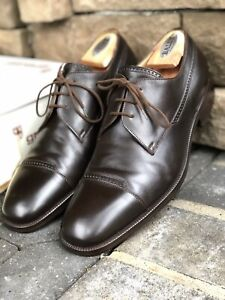 GRAVATI-Solid-Brown-Leather-Mens-Captoe-Oxford-Dress-Shoes-ITALY-11-M
