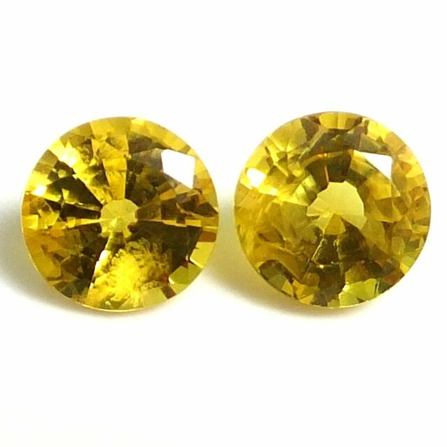 NATURAL ROUND GOLDEN YELLOW SAPPHIRE GEMSTONES LOOSE PAIR - 3 x 3 mm AAA