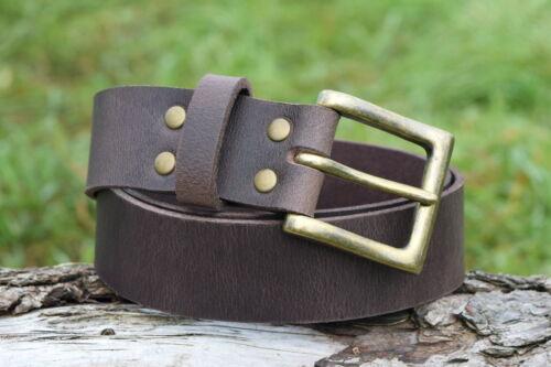 Cristopher fatto a mano Brown Senza Nickel Cintura in pelle Fibbia in Ottone anticato