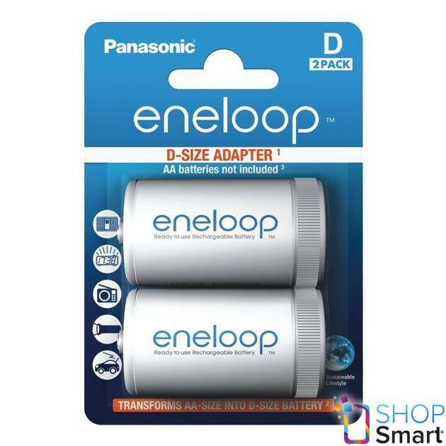 2 panasonic eneloop AA battery adapter r6a D r20 size of converter spacer