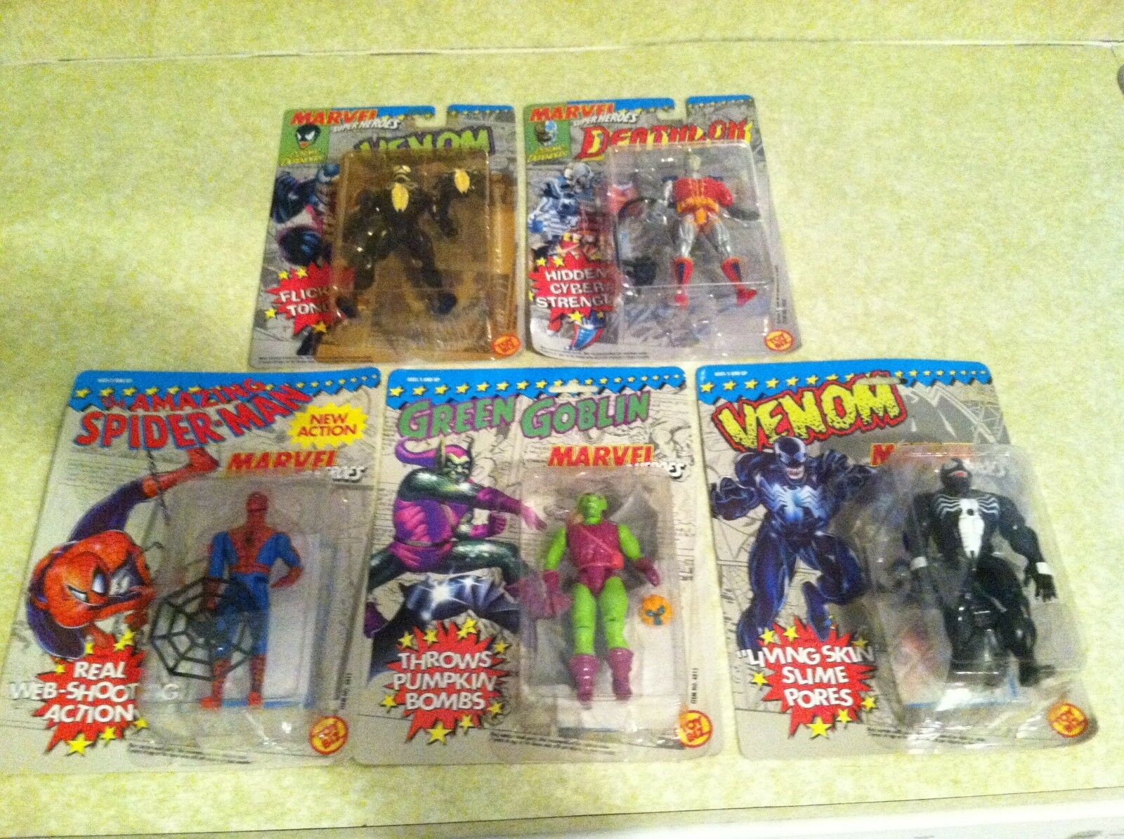 TOY BIZ new MARVEL heros (set of 5) spiderman green goblin venom deathlok x men