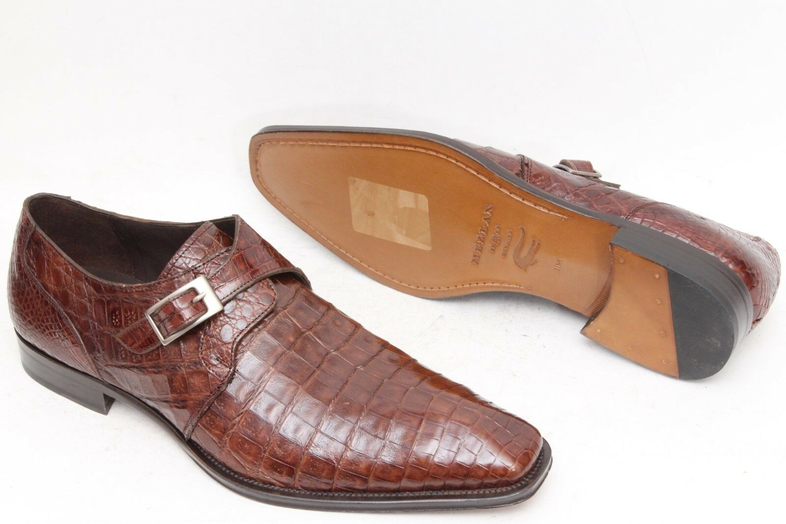 Mezlan 'Gables' Marroneee Leather Crocodile Monk Strap Men's scarpe Dimensione 11 M