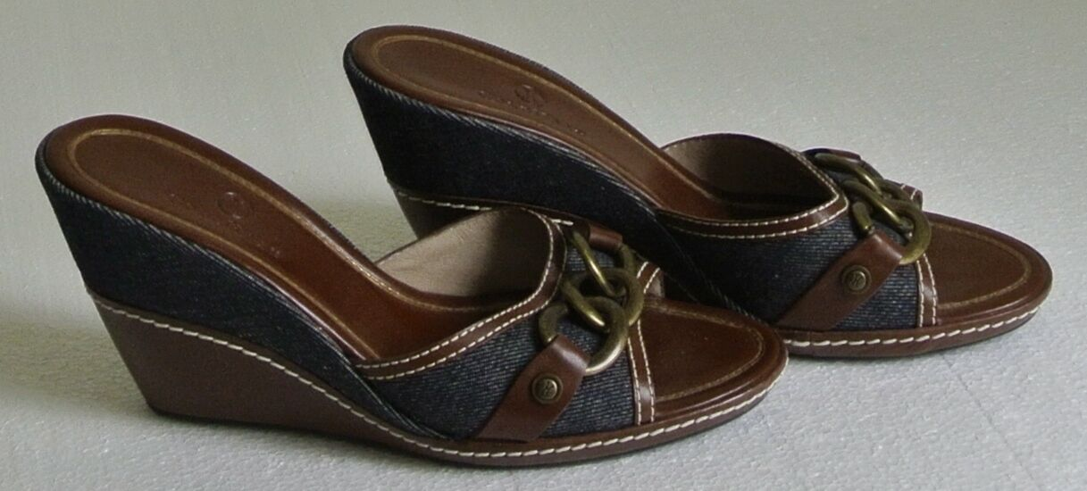 Cole Haan Denim Brown Leather Brass Chain Accent Wedge Mule Sandals Size 8 M