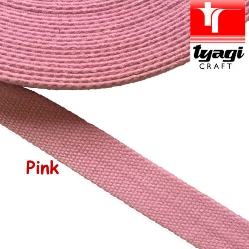 "25mm Canvas Cotton 100/% Baby Pink 1/"" Inch Bag Strap Belt Webbing Handle"
