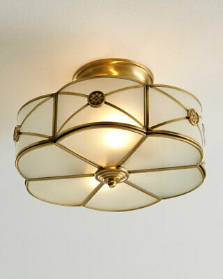 Regency Luxe Horchow Brushed Br Semi Flush Mount Ceiling Light Stunning 600 Ebay