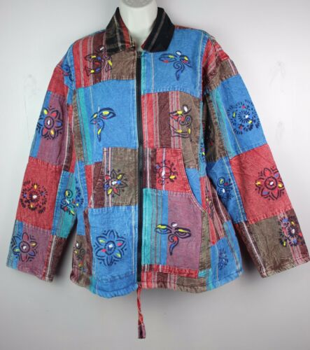 Hippy Boho Vintage Patchwork Cotton Fleece Lined Coat Jacket Top HANDMADE VCJ8
