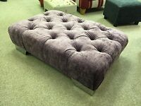 Chesterfield Button Footstool / Pouffe Purple Chrome Feet British Made Gift