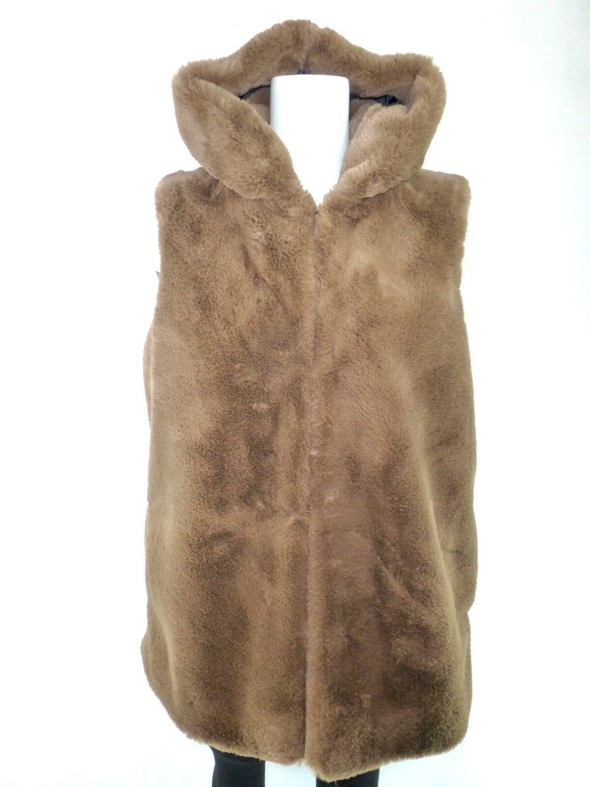 Please Gilet Femme size S 36 brown Fausse Fourrure Veste en Chaud Capuche Np