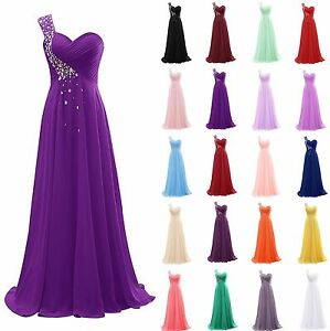 One-Shoulder-Bead-Long-Chiffon-Bridesmaid-Formal-Gown-Party-Evening-Prom-Dress