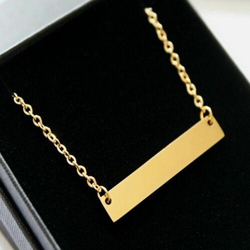 Personalised Name Bar Necklace Pendant Engraved Jewellery Birthday Gift FREEPOST