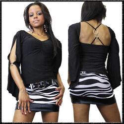 Langarm Shirt & Mini Rock 2 Teile Set Skirt mit Gürtel & Bluse S – 2XL