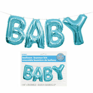 Baby-Balloon-Banner-Kit-Blue-Latex-Helium-Air-Party-Decoration-Boy-Shower