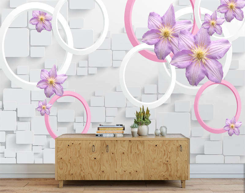 Superior lila Lily 3D Full Wall Mural Photo Wallpaper Printing Home Kids Decor