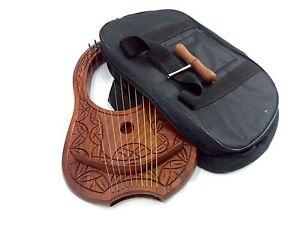 Neuf Lyre Harpe Bois Sheesham 10 Métal Cordes / Lyra 10 Gratuit Case& Touche