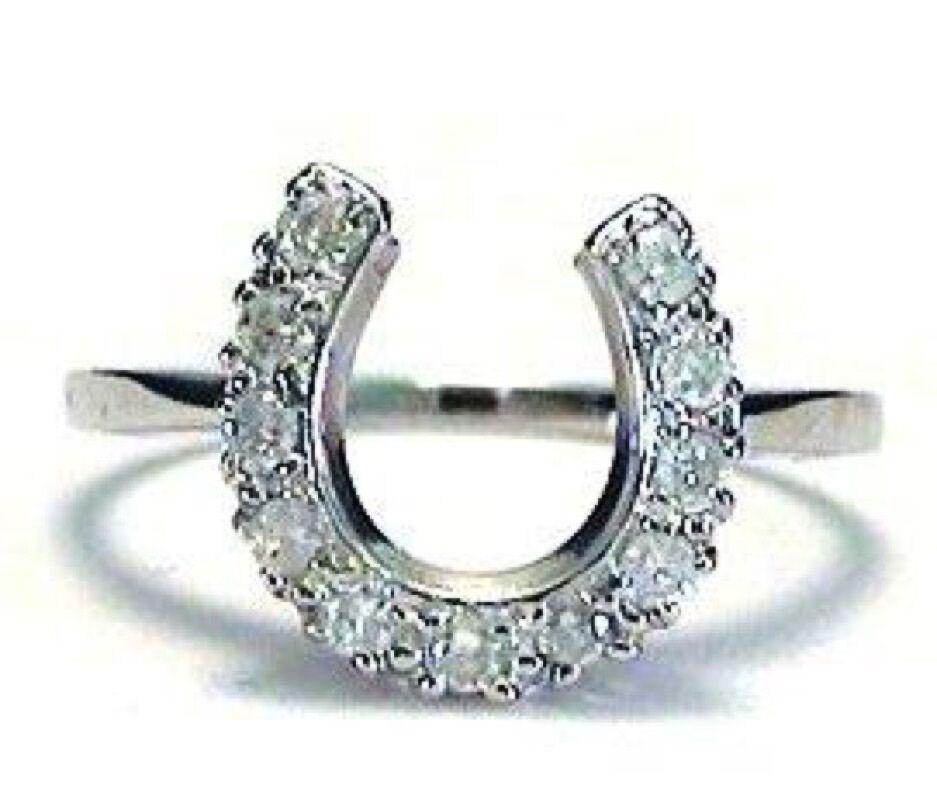 Horseshoe Ring Ladies 14K White or Yellow gold with .25 Ct Diamonds SI2 G H