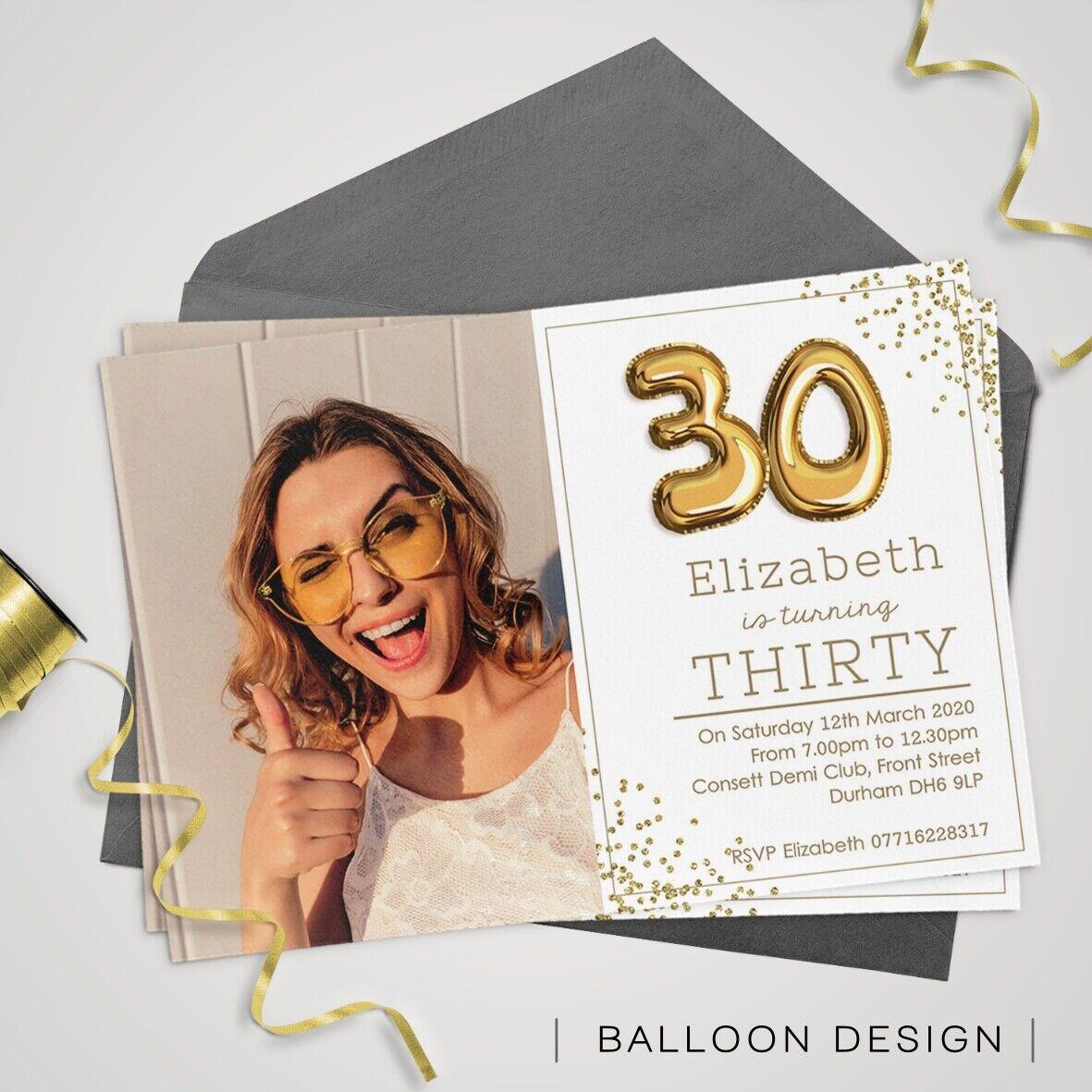 INVITI Compleanno personalizzati 30th, 30th, 30th, 40th, 50th 21st 18th PARTY invita 2d239f