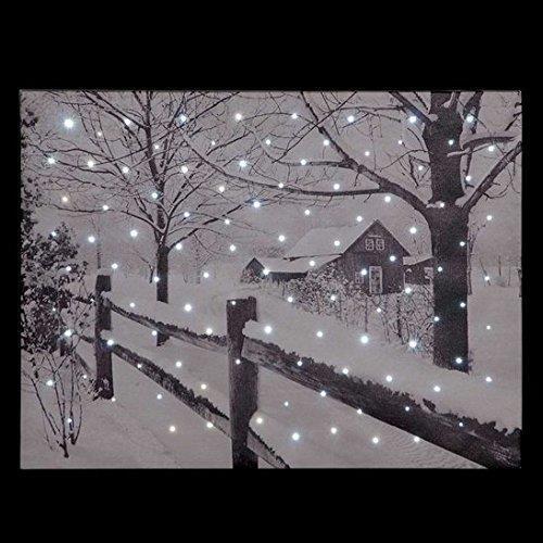 SnowTime Country House Snow Scene Illuminated Fibre Optic Wall Canvas 40x30cm