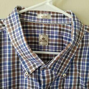 Peter-Millar-Mens-Button-Down-Long-Sleeve-Shirt-Blue-Plaid-Size-3XL-EUC