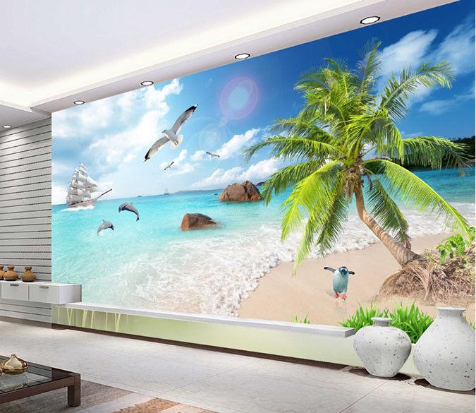 Papel Pintado Mural Vellón Playa De Cocotero Pingüino 2 Paisaje Fondo PanGröße