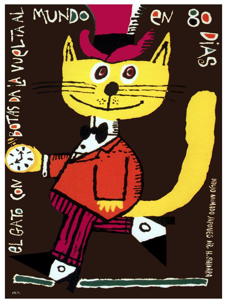 El Gato con Stiefel animaion cartoon POSTER. Graphic Design. Art Decoration.3788