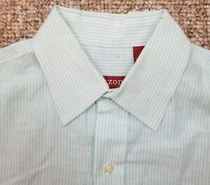 166658044c IZOD Linen Short Sleeve Button Up Shirt Men s Size Medium Striped ...