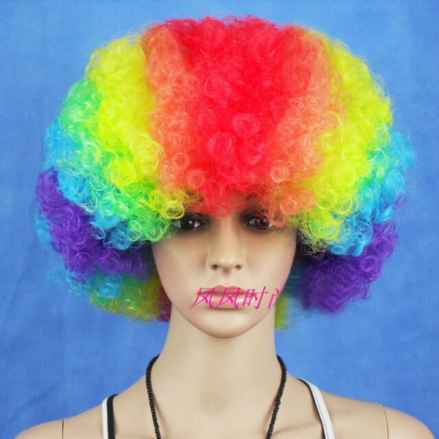 Women Mens Funny Colorful Afro Curly Clown Cosplay Party 70s Disco Wig Wigs