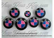 PINK & BLUE CARBON FIBER BMW Badge Emblem Overlay HOOD TRUNK RIMS FITS ALL BMW