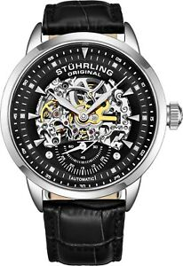Stuhrling-Executive-Automatic-Skeleton-Men-039-s-Self-Wind-Leather-Strap-Watch