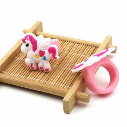 10PCS Unicorn Rubber Rings Kids Cartoon Toy Wedding Party Jewelry Gift