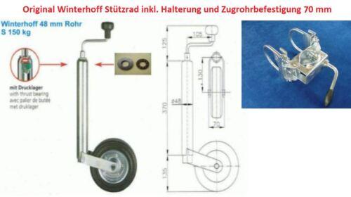 Stützrad mit Halterung u Befestigung für PKW Anhänger Wohnwagen Neu L4111.70R
