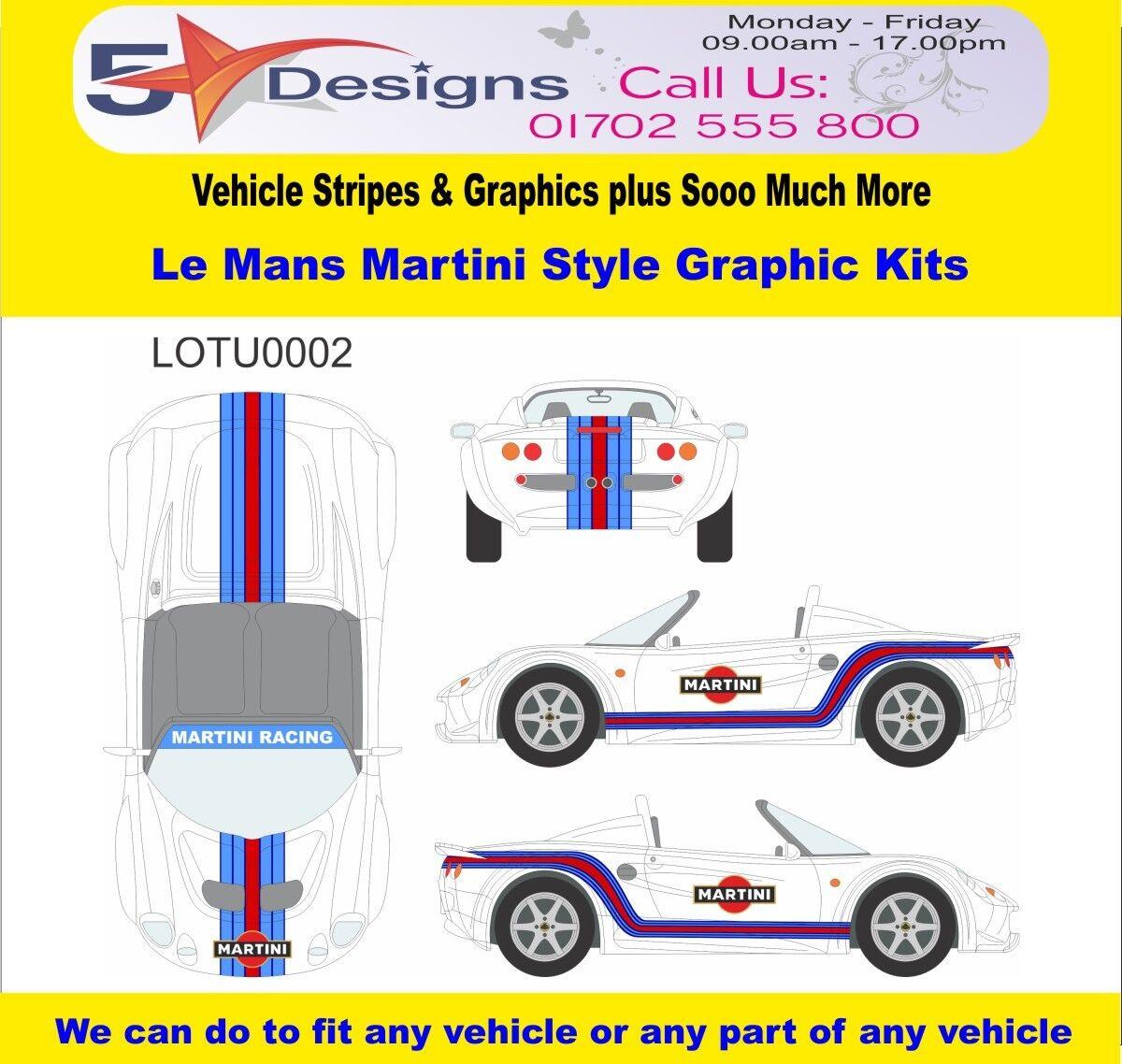 LOTUS Elise Series 1 Le Mans Martini Race Rally Logo Graphics Kit 2