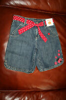 Gymboree Polka Dot Ladybug 8 Blue Denim Jean Shorts Material Belt/gem Flower