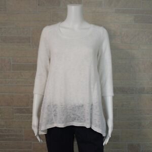 150a6a00b48c66 Details about New York   Co Misses XS White Loose Knit High Low Hem Tunic  Sweater Shirt