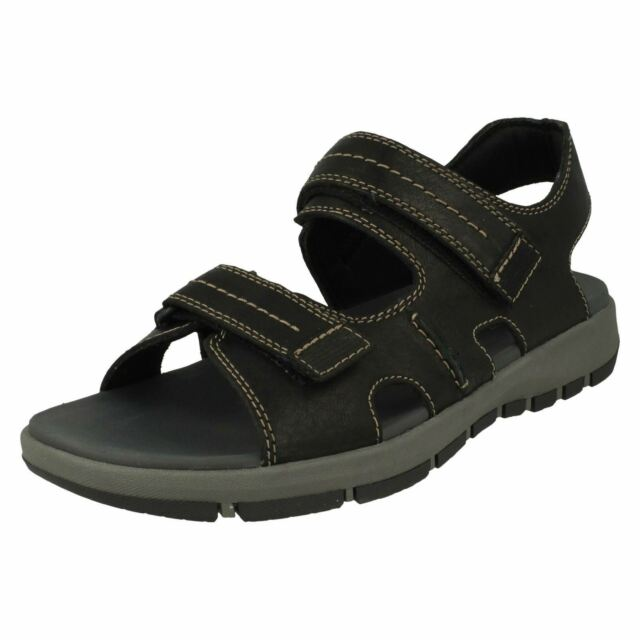 Men/'s Clarks Sandals Brixby Shore Dark Brown  Leather 261 31549