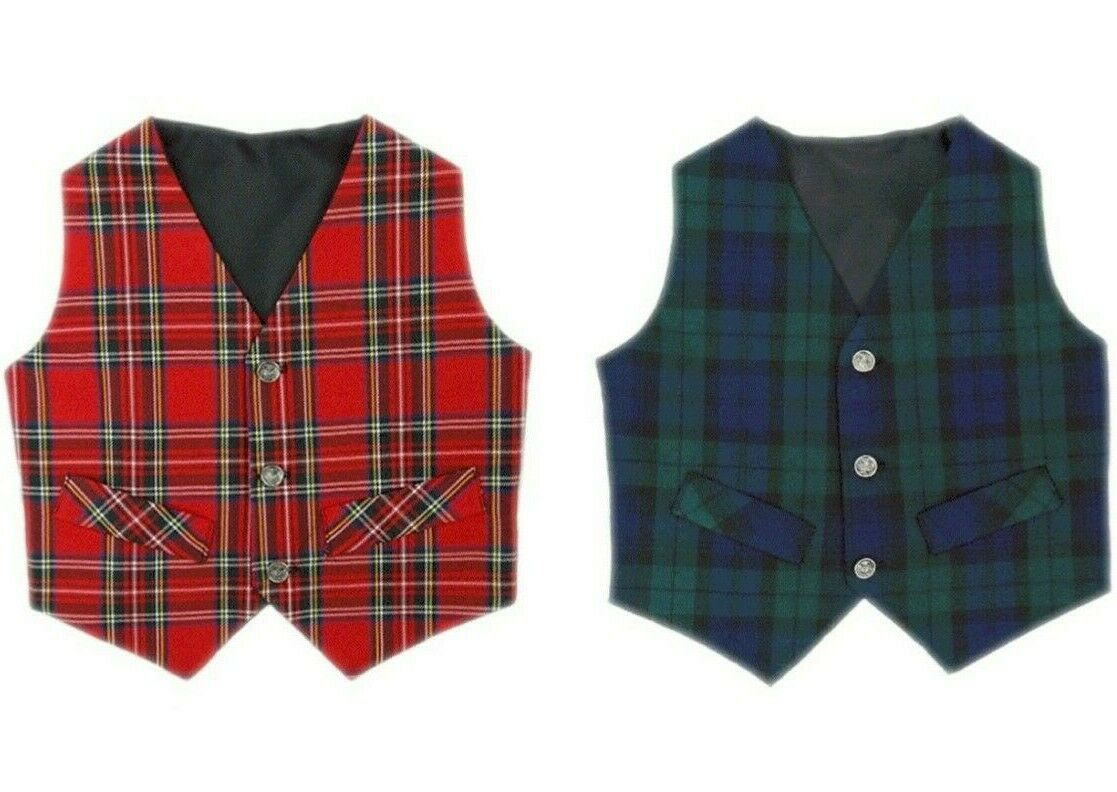 Soft and Cute Children's Traditional Scottish Tartan Waistcoat New