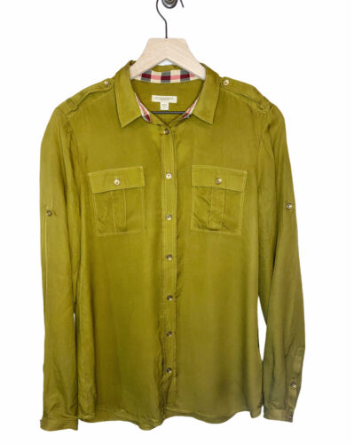 Burberry Brit Utility Silk Button Down Olive Green