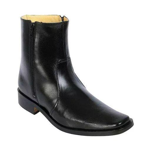 Dress Boots Besserro Black, Double Zipper All Leather