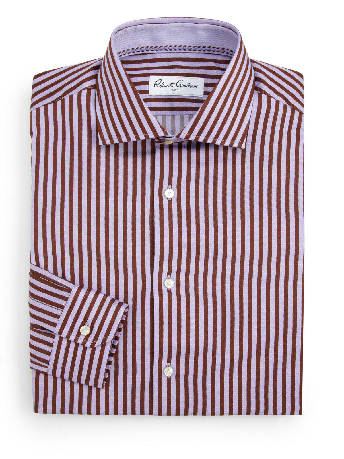 New Robert Graham Rupert RC Dress Shirt Größe 15.5 39 Lavender Striped