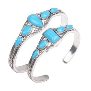 Vintage-Women-Tibetan-Silver-Blue-Turquoise-Open-Bangle-Cuff-Bracelet-Jewelry