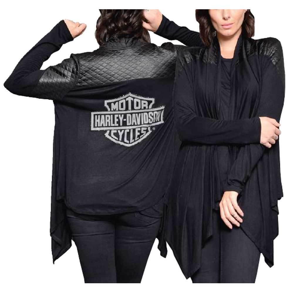 Harley-Davidson Women's Rhinestone Reflective Bar & Shield Cardigan L XL