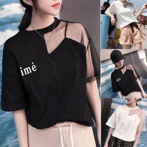Korean-Fashion-Women-Summer-Short-Sleeve-Casual-Loose-T-Shirt-Blouse-Top-Tee
