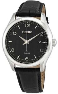 Seiko-Men-039-s-Solar-100m-Stainless-Steel-Black-Leather-Watch-SNE495