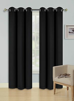 """2 PANEL SOLID YELLOW THERMAL 100/% BLACKOUT GROMMET WINDOW CURTAIN 84/"""" L #68"""