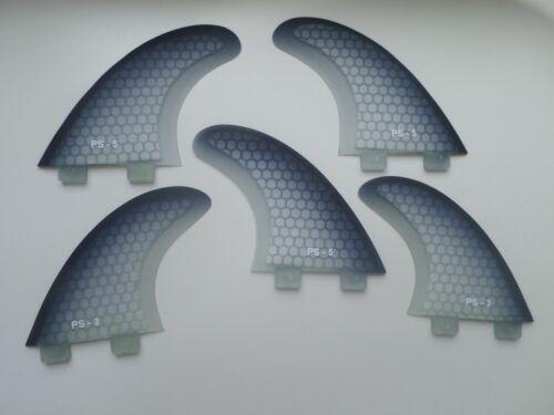 FCS compatib set x 5 QUAD 5 FIN set HEXCORE surfboard fibreglass THRUSTER FINS
