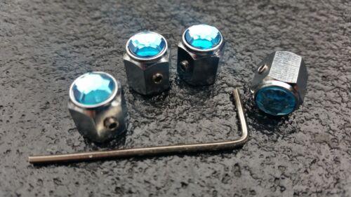 BLUE CAR TIRE Cappucci di Protezione Valvola bloccaggio ANTI THEFT AUTO MINI FIAT VW AUDI FORD BMW