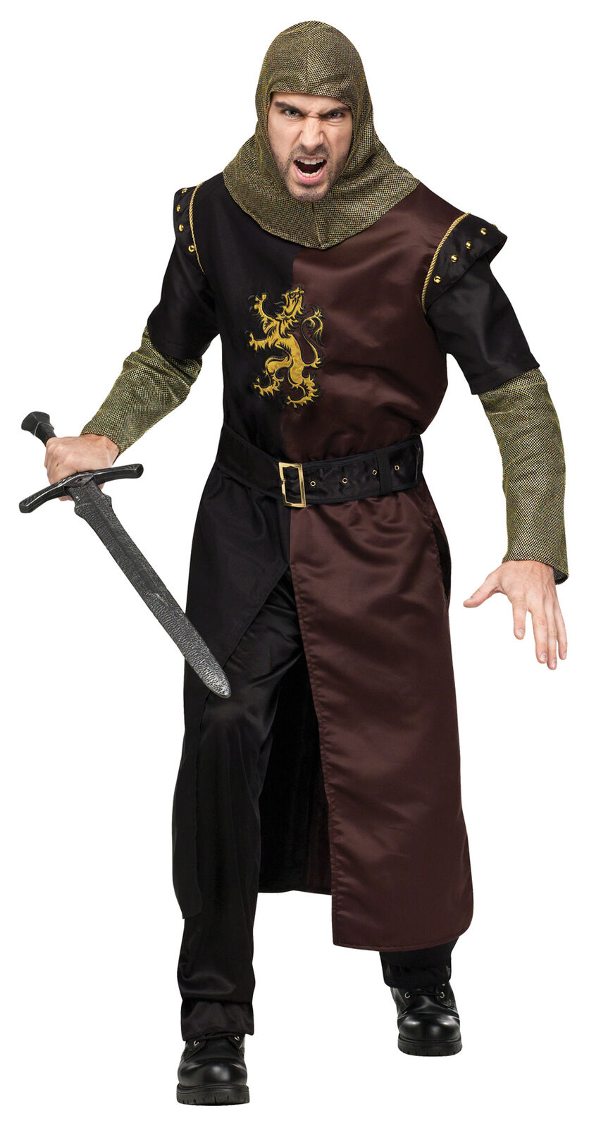 Valiant Knight Adult Men's Costume Hooded Tunic With Chain Funworld Plus Size