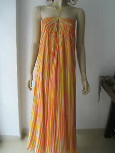 VINTAGE-HALSTON-70s-Silk-Yellow-Orange-Maxi-Dress-S-fits-UK-8-10